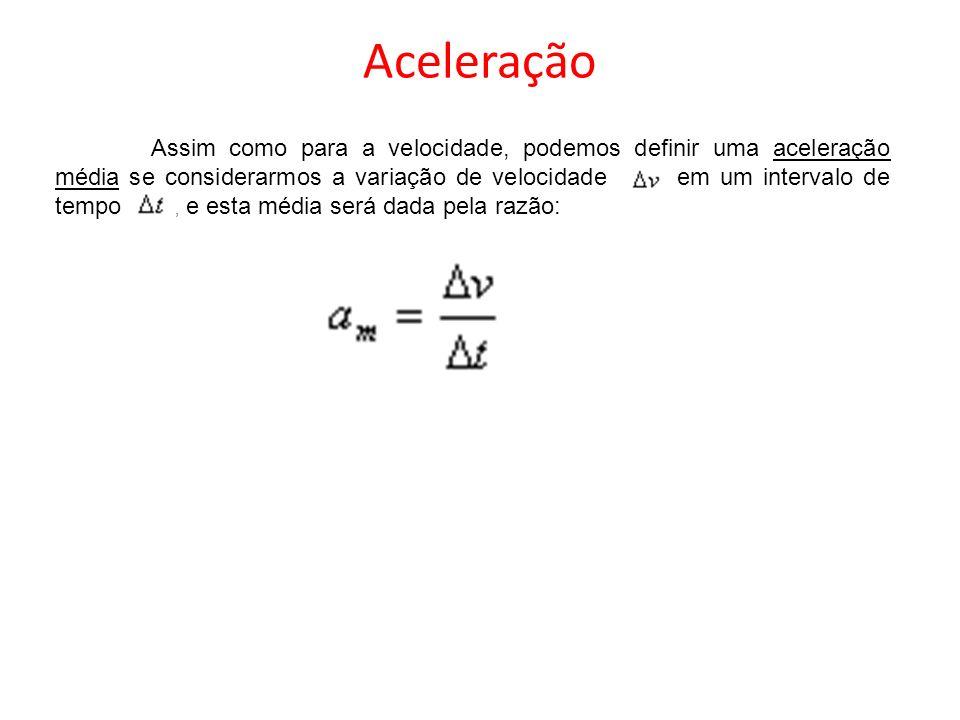Aceleração Assim como para a velocidade, podemos definir uma aceleração média se considerarmos a variação de velocidade em um intervalo de tempo, e es