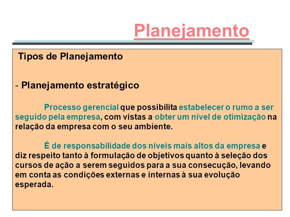 Tipos de Planejamento - Planejamento estratégico Processo gerencial que possibilita estabelecer o rumo a ser seguido pela empresa, com vistas a obter