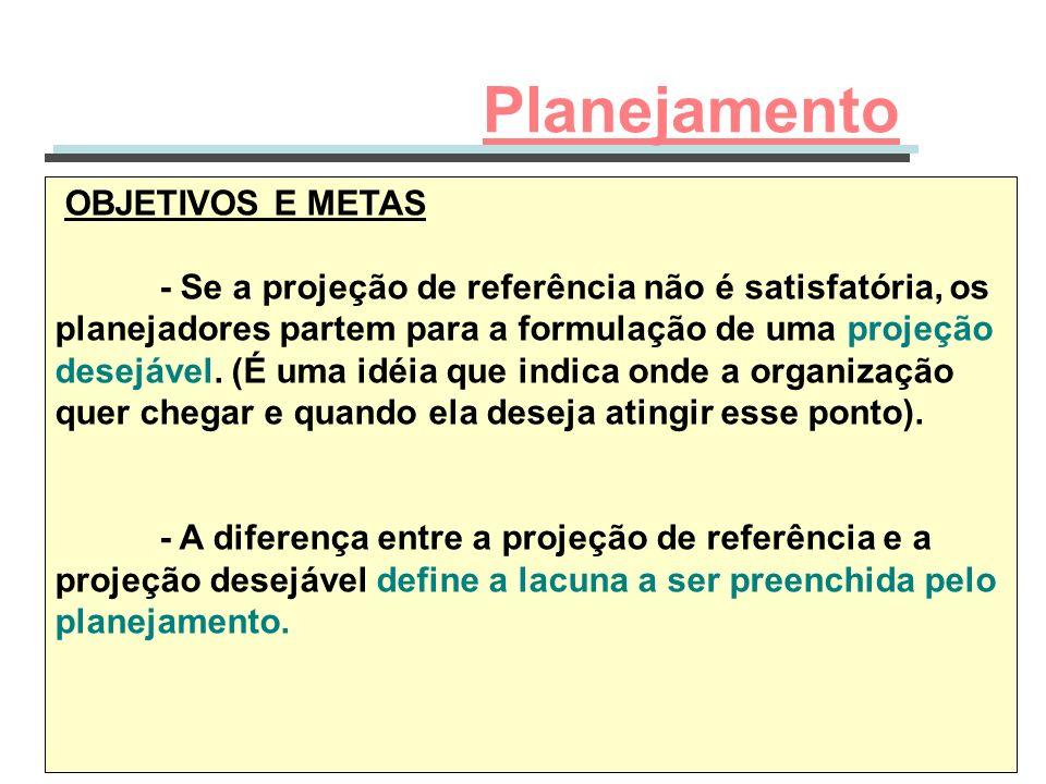 OBJETIVOS E METAS - Se a projeção de referência não é satisfatória, os planejadores partem para a formulação de uma projeção desejável. (É uma idéia q