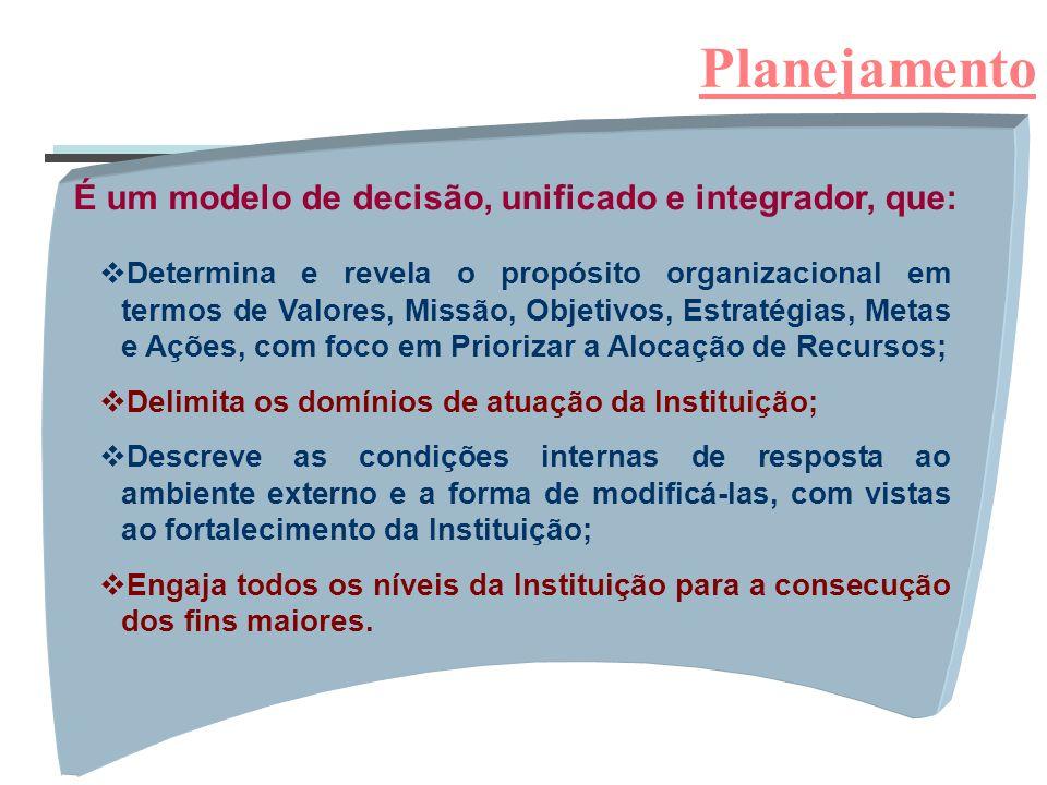 Planejamento É um modelo de decisão, unificado e integrador, que: vDetermina e revela o propósito organizacional em termos de Valores, Missão, Objetiv