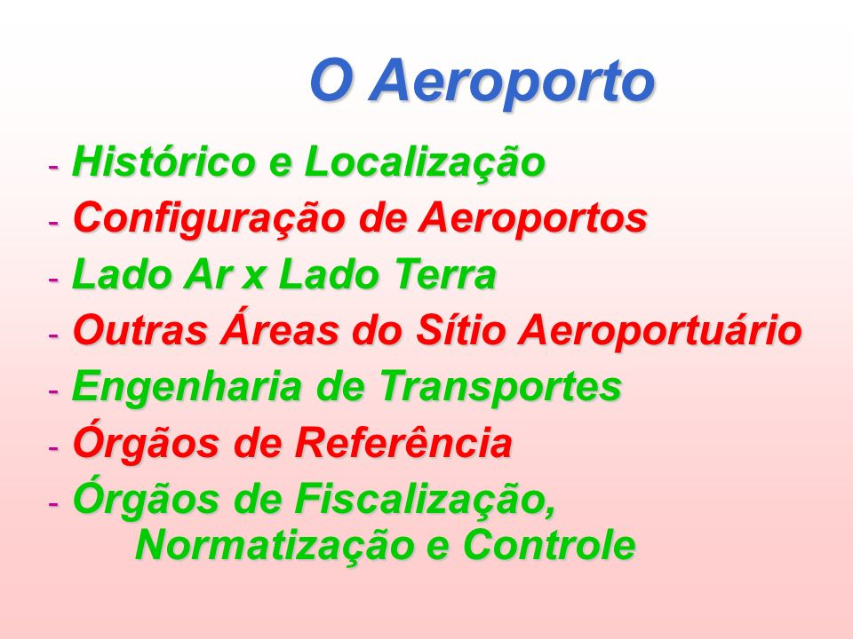 O Aeroporto - Histórico e Localização - Configuração de Aeroportos - Lado Ar x Lado Terra - Outras Áreas do Sítio Aeroportuário - Engenharia de Transportes - Órgãos de Referência - Órgãos de Fiscalização, Normatização e Controle