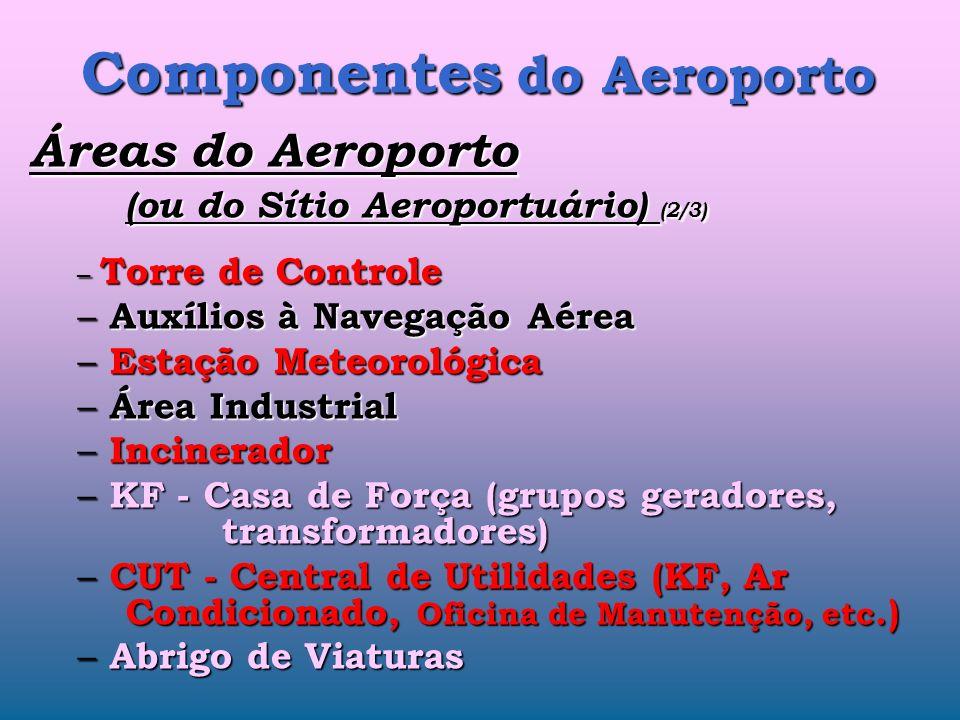 Componentes do Aeroporto Áreas do Aeroporto (ou do Sítio Aeroportuário) (1/3) – Aviação Geral – Aero Clube – Carga Aérea – Correio – Courrier (encomen