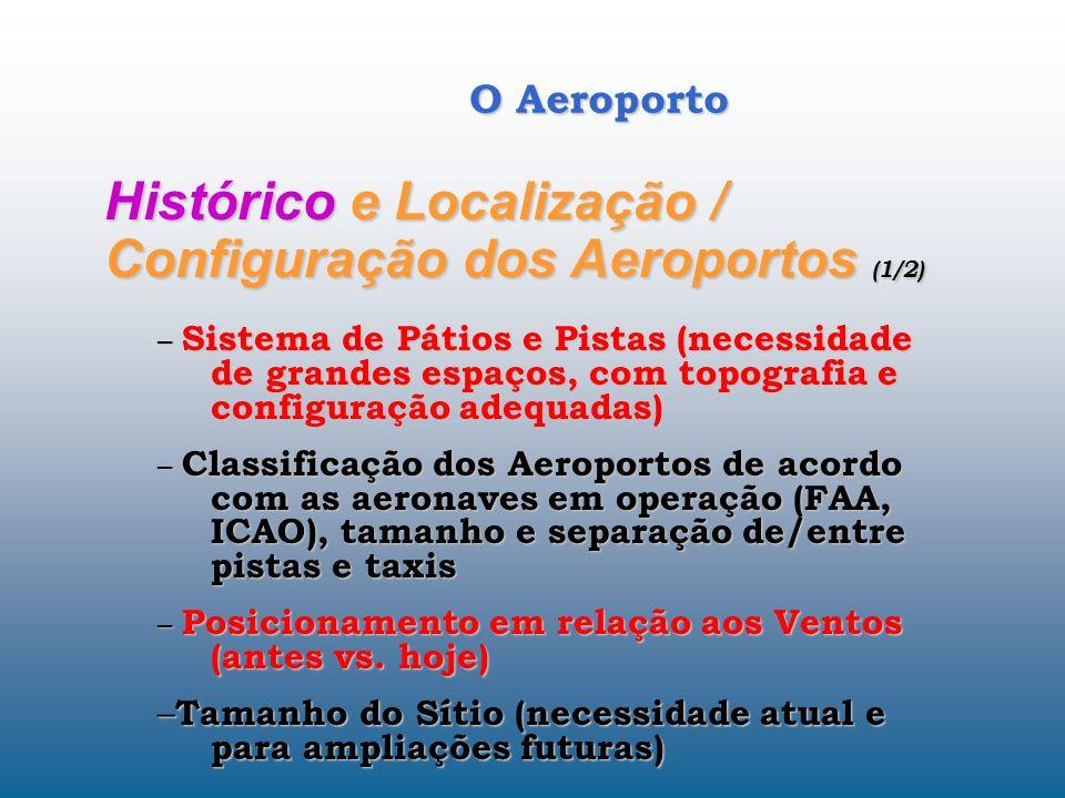O Aeroporto Histórico e Localização / Configuração dos Aeroportos (1/2) – Sistema de Pátios e Pistas (necessidade de grandes espaços, com topografia e configuração adequadas) – Classificação dos Aeroportos de acordo com as aeronaves em operação (FAA, ICAO), tamanho e separação de/entre pistas e taxis – Posicionamento em relação aos Ventos (antes vs.