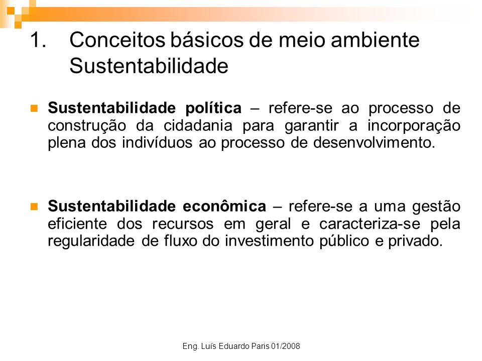 Eng. Luís Eduardo Paris 01/2008 1.Conceitos básicos de meio ambiente Sustentabilidade Sustentabilidade política – refere-se ao processo de construção