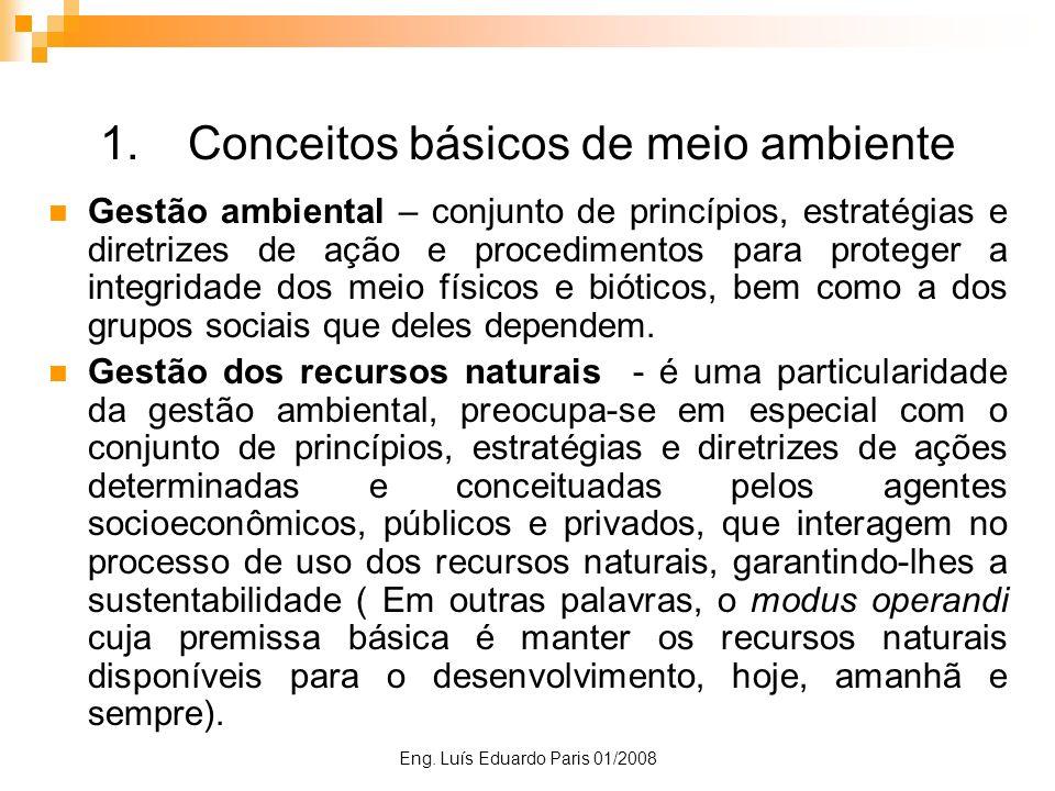 Eng. Luís Eduardo Paris 01/2008 1.Conceitos básicos de meio ambiente Gestão ambiental – conjunto de princípios, estratégias e diretrizes de ação e pro