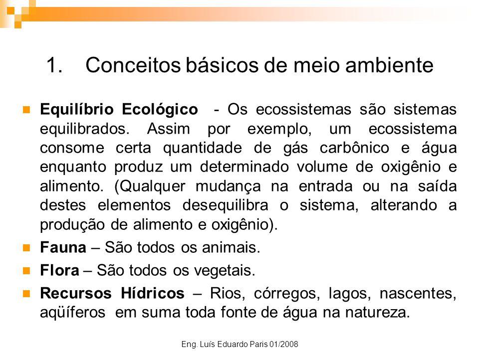 Eng. Luís Eduardo Paris 01/2008 1.Conceitos básicos de meio ambiente Equilíbrio Ecológico - Os ecossistemas são sistemas equilibrados. Assim por exemp