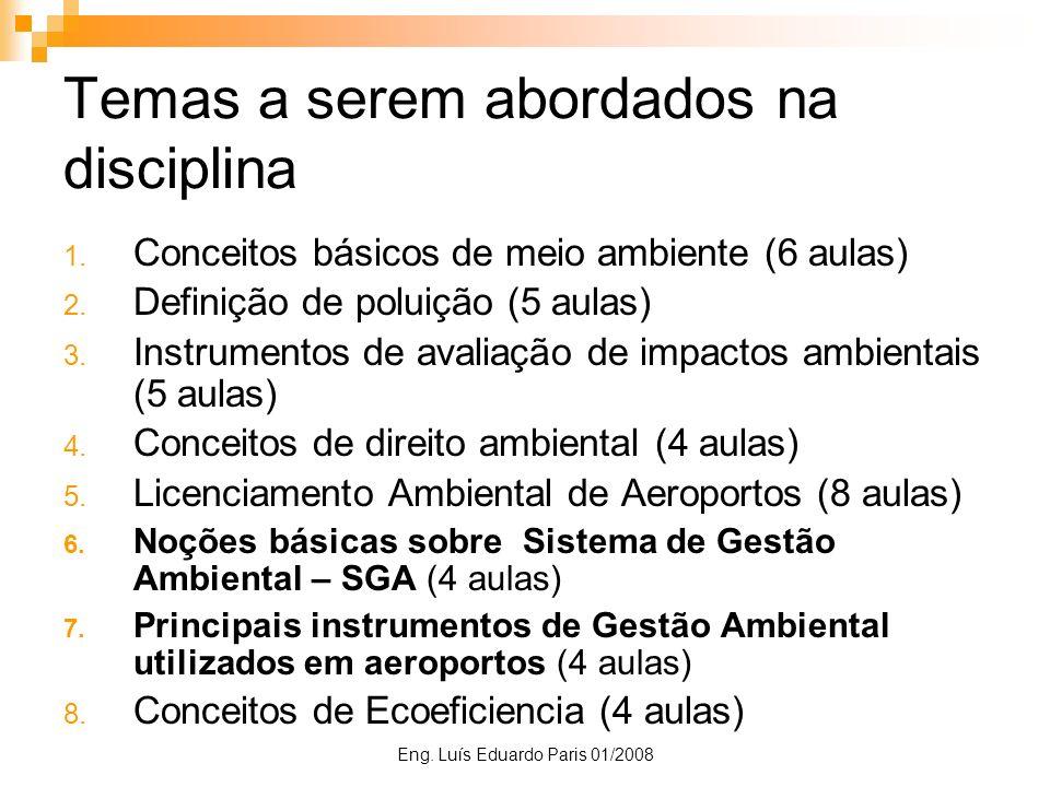 Eng. Luís Eduardo Paris 01/2008 Temas a serem abordados na disciplina 1. Conceitos básicos de meio ambiente (6 aulas) 2. Definição de poluição (5 aula