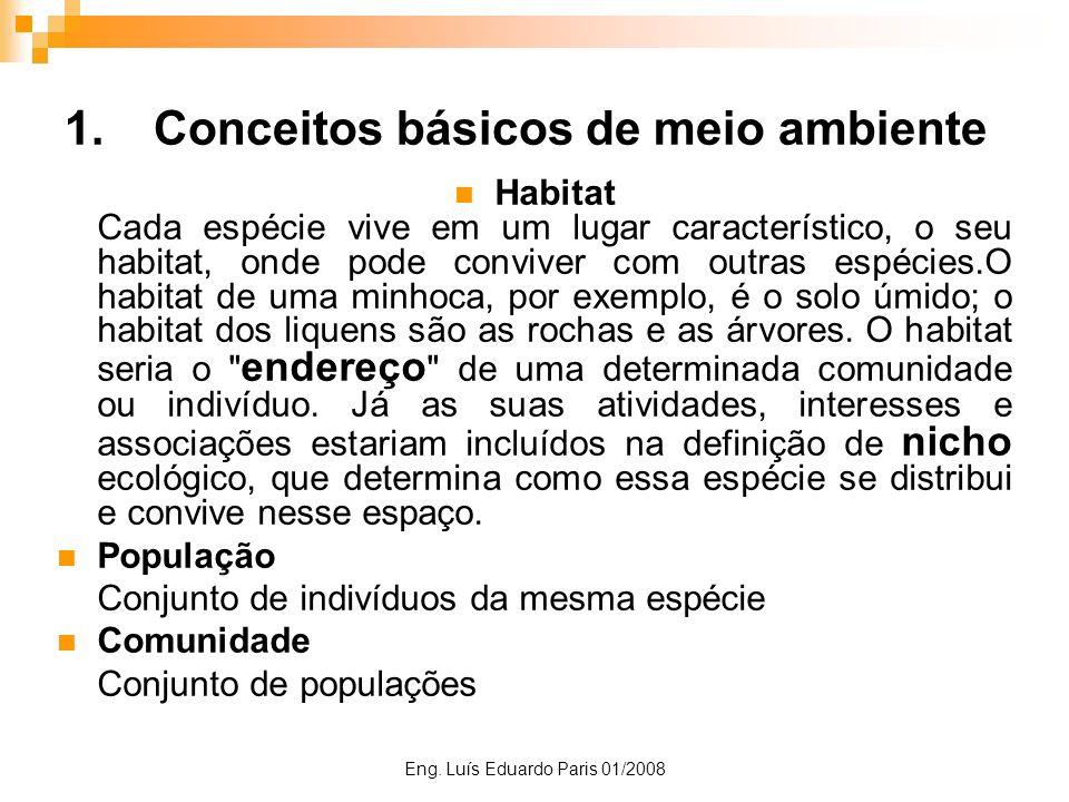 Eng. Luís Eduardo Paris 01/2008 1.Conceitos básicos de meio ambiente Habitat Cada espécie vive em um lugar característico, o seu habitat, onde pode co