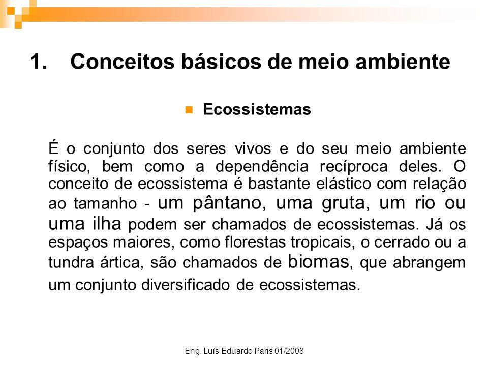 Eng. Luís Eduardo Paris 01/2008 1.Conceitos básicos de meio ambiente Ecossistemas É o conjunto dos seres vivos e do seu meio ambiente físico, bem como