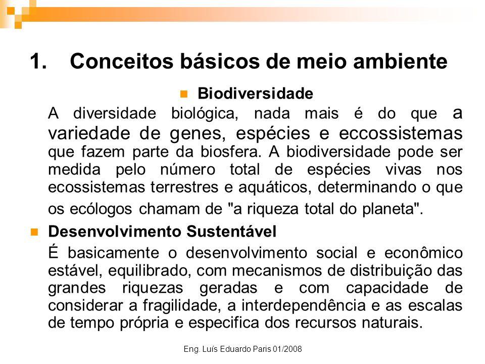 Eng. Luís Eduardo Paris 01/2008 1.Conceitos básicos de meio ambiente Biodiversidade A diversidade biológica, nada mais é do que a variedade de genes,