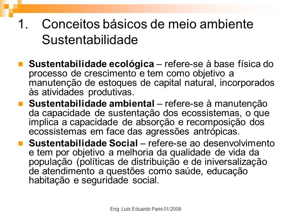 Eng. Luís Eduardo Paris 01/2008 1.Conceitos básicos de meio ambiente Sustentabilidade Sustentabilidade ecológica – refere-se à base física do processo