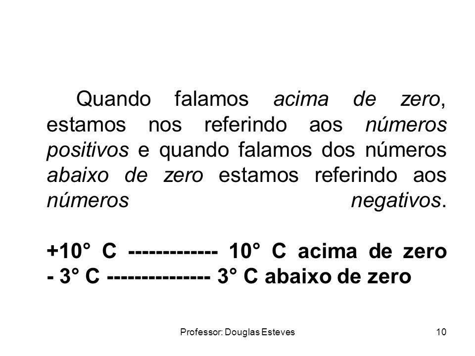 Professor: Douglas Esteves10 Quando falamos acima de zero, estamos nos referindo aos números positivos e quando falamos dos números abaixo de zero est