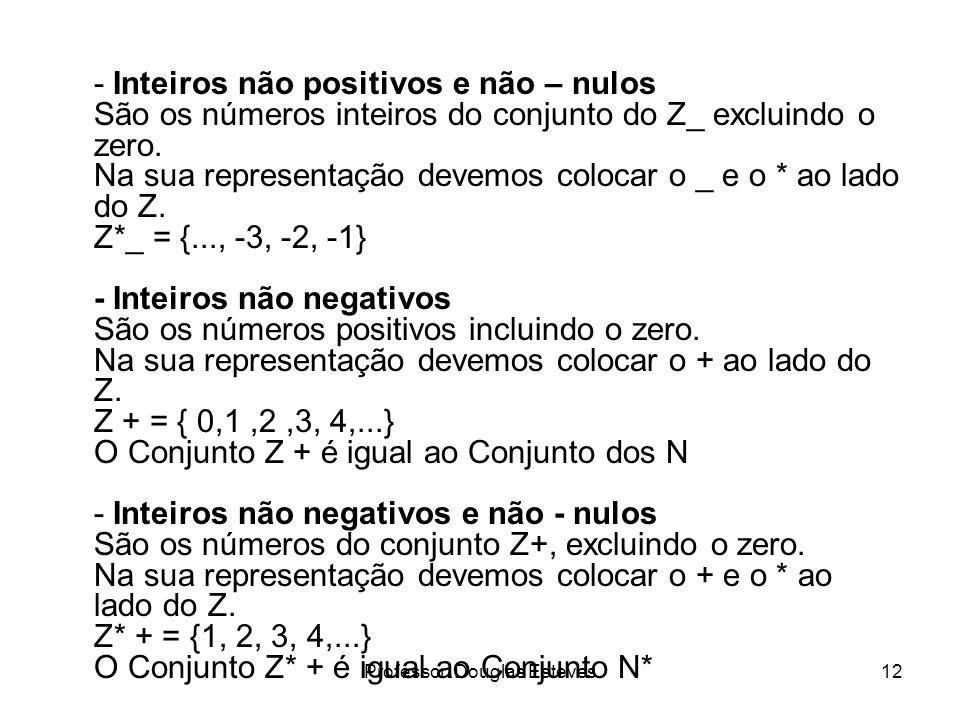 Professor: Douglas Esteves12 - Inteiros não positivos e não – nulos São os números inteiros do conjunto do Z_ excluindo o zero. Na sua representação d