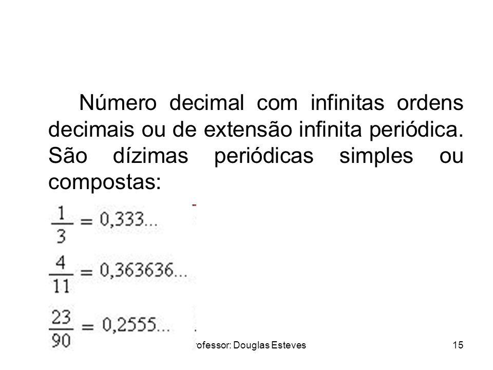 Professor: Douglas Esteves15 Número decimal com infinitas ordens decimais ou de extensão infinita periódica. São dízimas periódicas simples ou compost