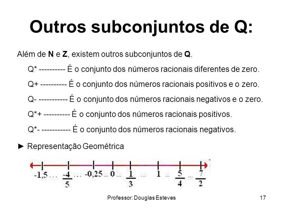 Professor: Douglas Esteves17 Outros subconjuntos de Q: Além de N e Z, existem outros subconjuntos de Q. Q* ---------- É o conjunto dos números raciona