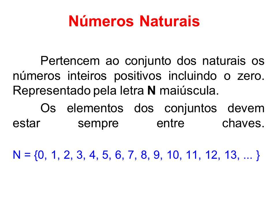 Números Naturais Pertencem ao conjunto dos naturais os números inteiros positivos incluindo o zero. Representado pela letra N maiúscula. Os elementos