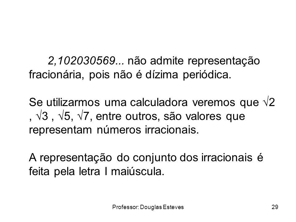 Professor: Douglas Esteves29 2,102030569... não admite representação fracionária, pois não é dízima periódica. Se utilizarmos uma calculadora veremos