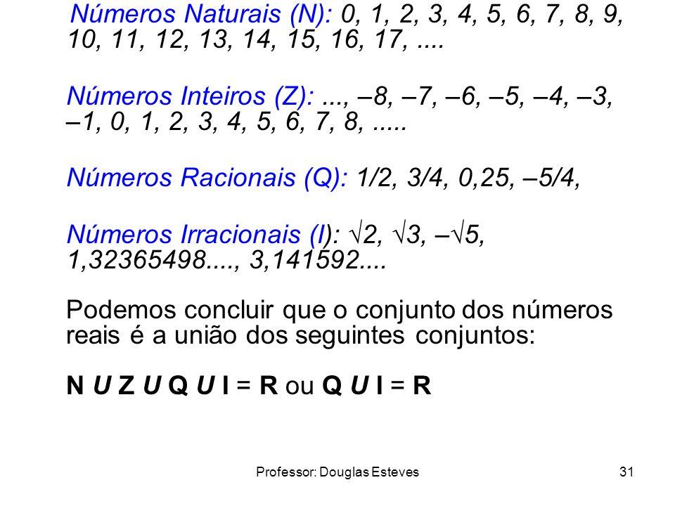 Professor: Douglas Esteves31 Números Naturais (N): 0, 1, 2, 3, 4, 5, 6, 7, 8, 9, 10, 11, 12, 13, 14, 15, 16, 17,.... Números Inteiros (Z):..., –8, –7,
