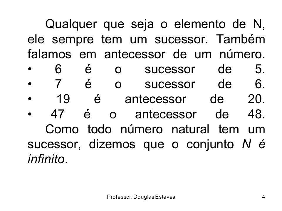 Professor: Douglas Esteves4 Qualquer que seja o elemento de N, ele sempre tem um sucessor. Também falamos em antecessor de um número. 6 é o sucessor d