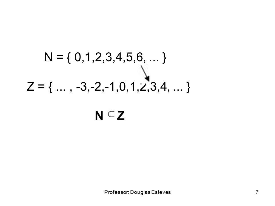 Professor: Douglas Esteves8 O conjunto dos números inteiros é representado pela letra Z maiúscula.