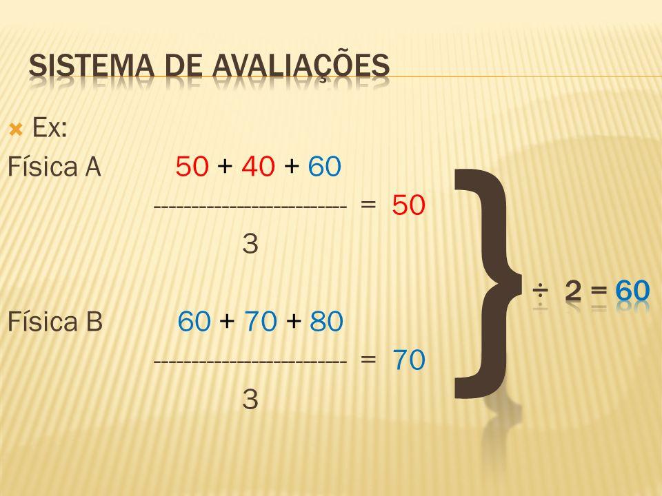 Ex: Física A 50 + 40 + 60 -------------------------- = 50 3 Física B 60 + 70 + 80 -------------------------- = 70 3