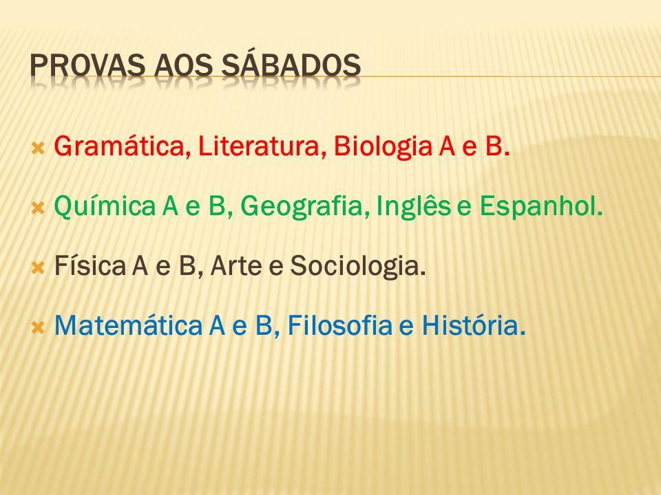 Gramática, Literatura, Biologia A e B. Química A e B, Geografia, Inglês e Espanhol. Física A e B, Arte e Sociologia. Matemática A e B, Filosofia e His