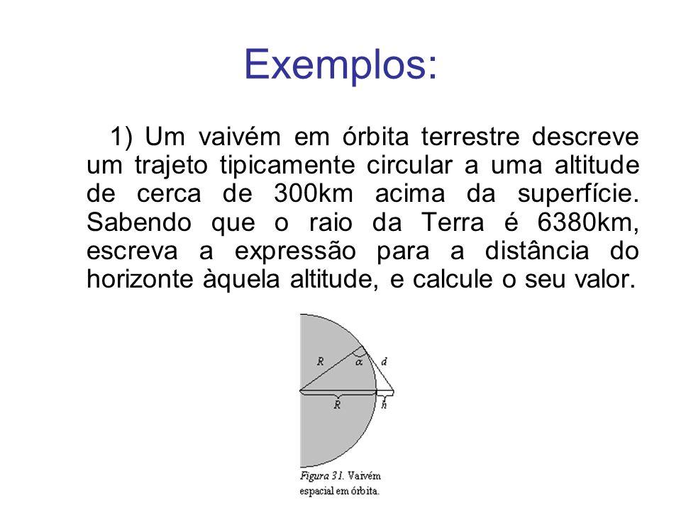 Exemplos: 1) Um vaivém em órbita terrestre descreve um trajeto tipicamente circular a uma altitude de cerca de 300km acima da superfície. Sabendo que
