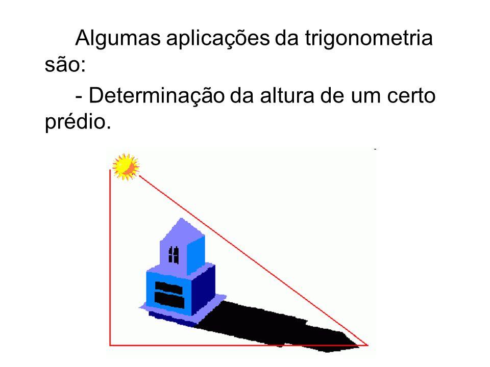 Algumas aplicações da trigonometria são: - Determinação da altura de um certo prédio.