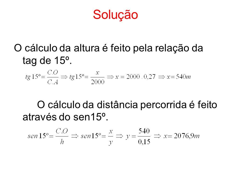 Solução O cálculo da altura é feito pela relação da tag de 15º. O cálculo da distância percorrida é feito através do sen15º.