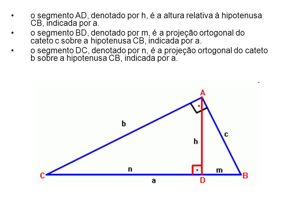 o segmento AD, denotado por h, é a altura relativa à hipotenusa CB, indicada por a. o segmento BD, denotado por m, é a projeção ortogonal do cateto c