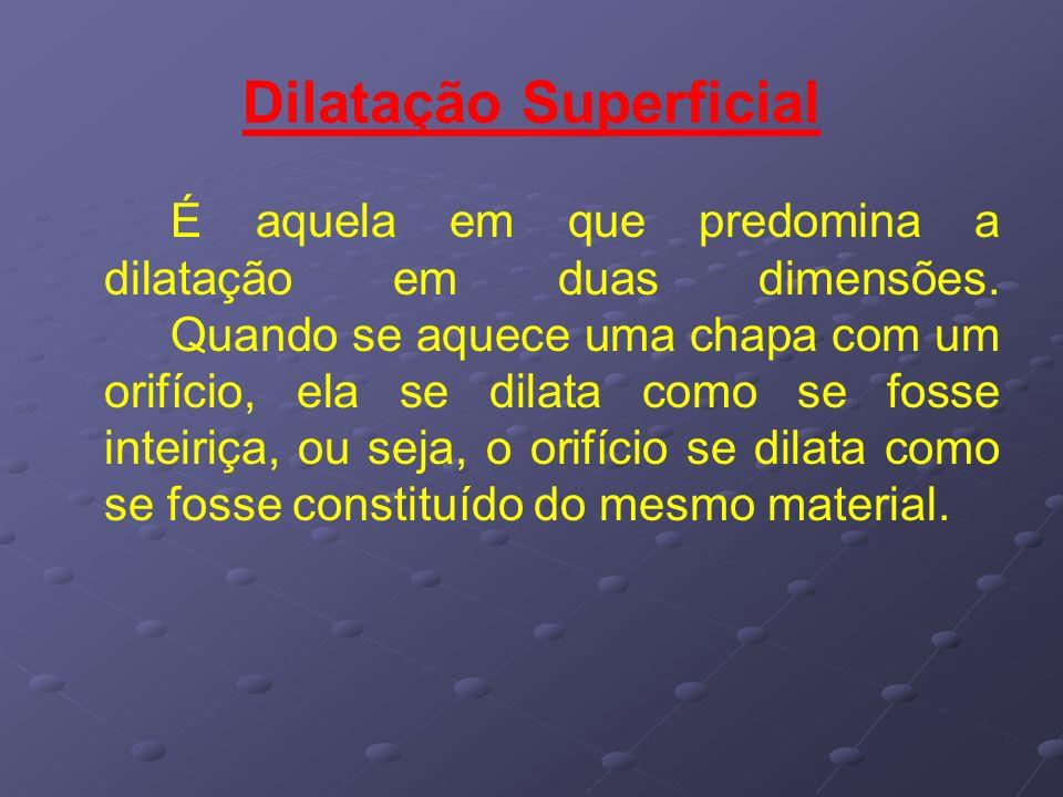 Dilatação Superficial É aquela em que predomina a dilatação em duas dimensões. Quando se aquece uma chapa com um orifício, ela se dilata como se fosse