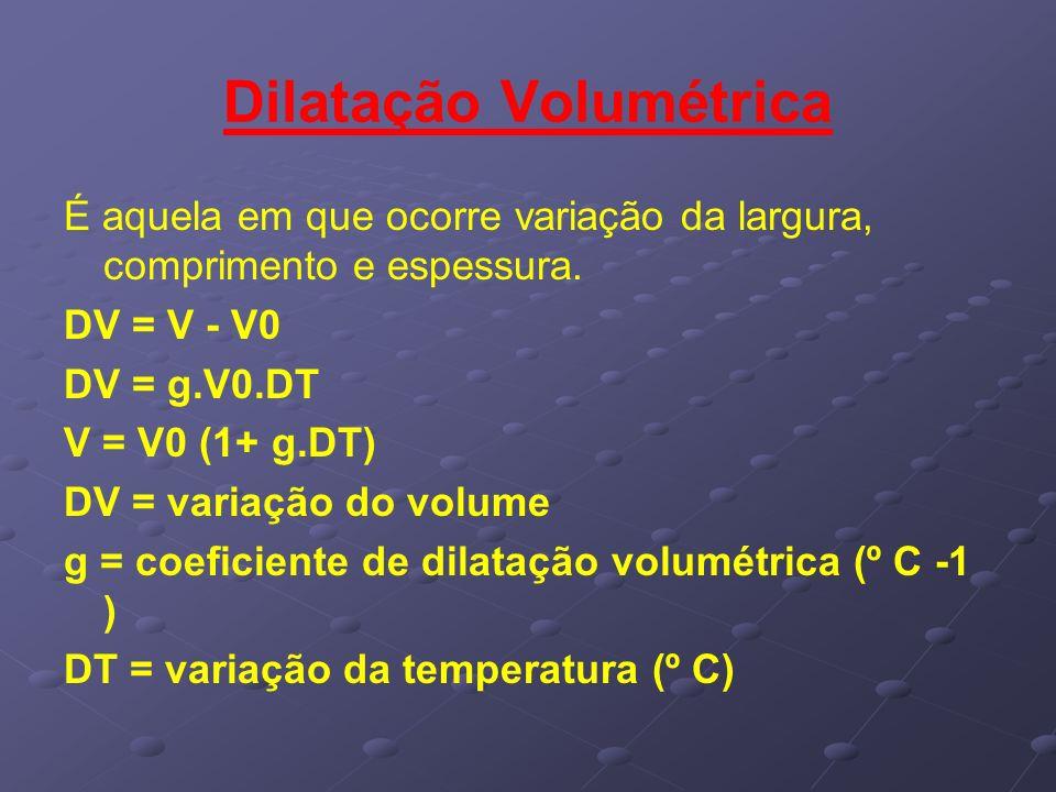 Dilatação Volumétrica É aquela em que ocorre variação da largura, comprimento e espessura. DV = V - V0 DV = g.V0.DT V = V0 (1+ g.DT) DV = variação do