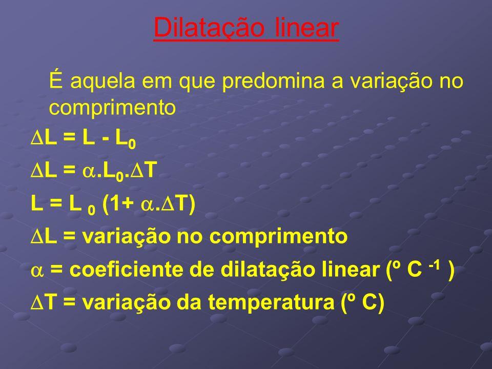 Dilatação linear É aquela em que predomina a variação no comprimento L = L - L 0 L =.L 0. T L = L 0 (1+. T) L = variação no comprimento = coeficiente