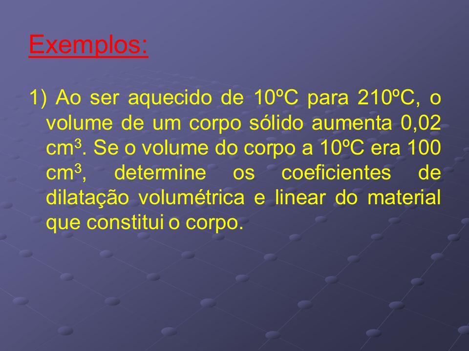 Exemplos: 1) Ao ser aquecido de 10ºC para 210ºC, o volume de um corpo sólido aumenta 0,02 cm 3. Se o volume do corpo a 10ºC era 100 cm 3, determine os