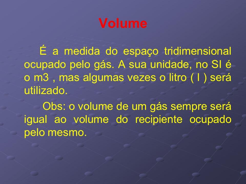 Volume É a medida do espaço tridimensional ocupado pelo gás. A sua unidade, no SI é o m3, mas algumas vezes o litro ( l ) será utilizado. Obs: o volum