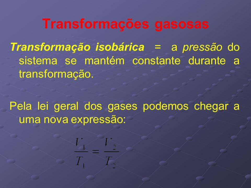 Transformações gasosas Transformação isobárica = a pressão do sistema se mantém constante durante a transformação. Pela lei geral dos gases podemos ch
