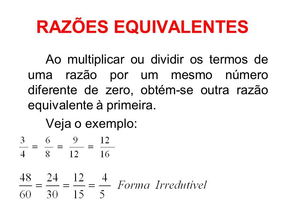 PROPORÇÃO A proporção é uma igualdade entre duas ou mais razões.