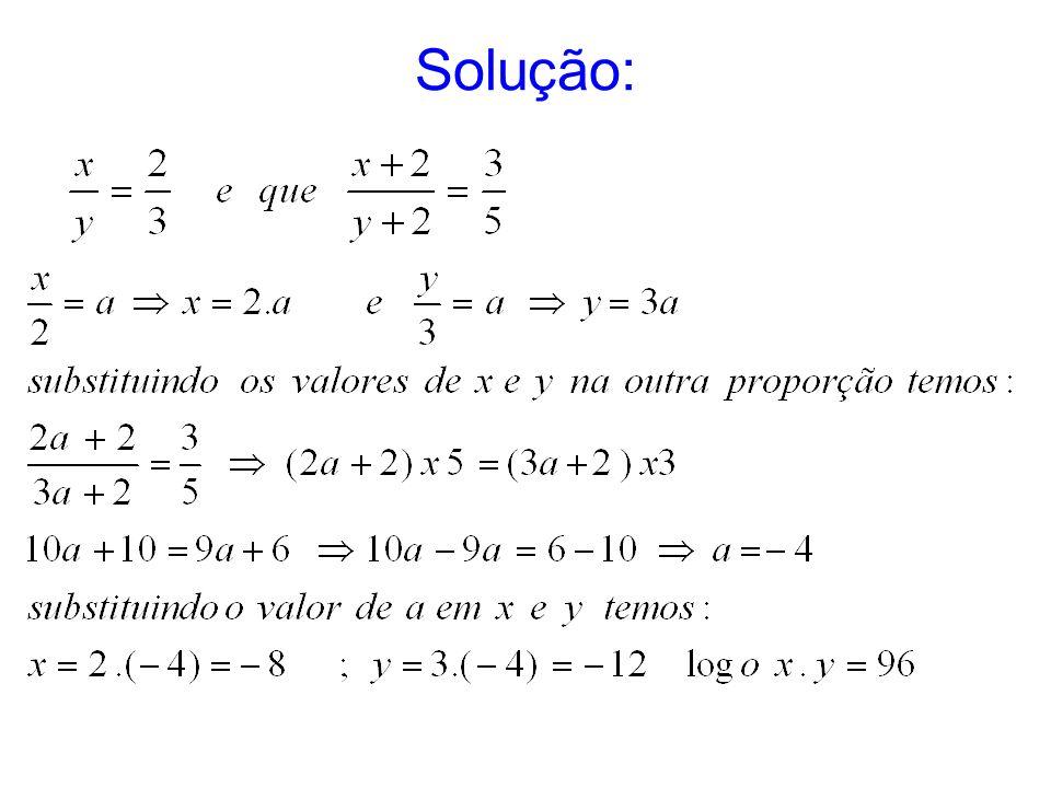 2) Sabendo que x + y = 42, determine x e y na proporção.