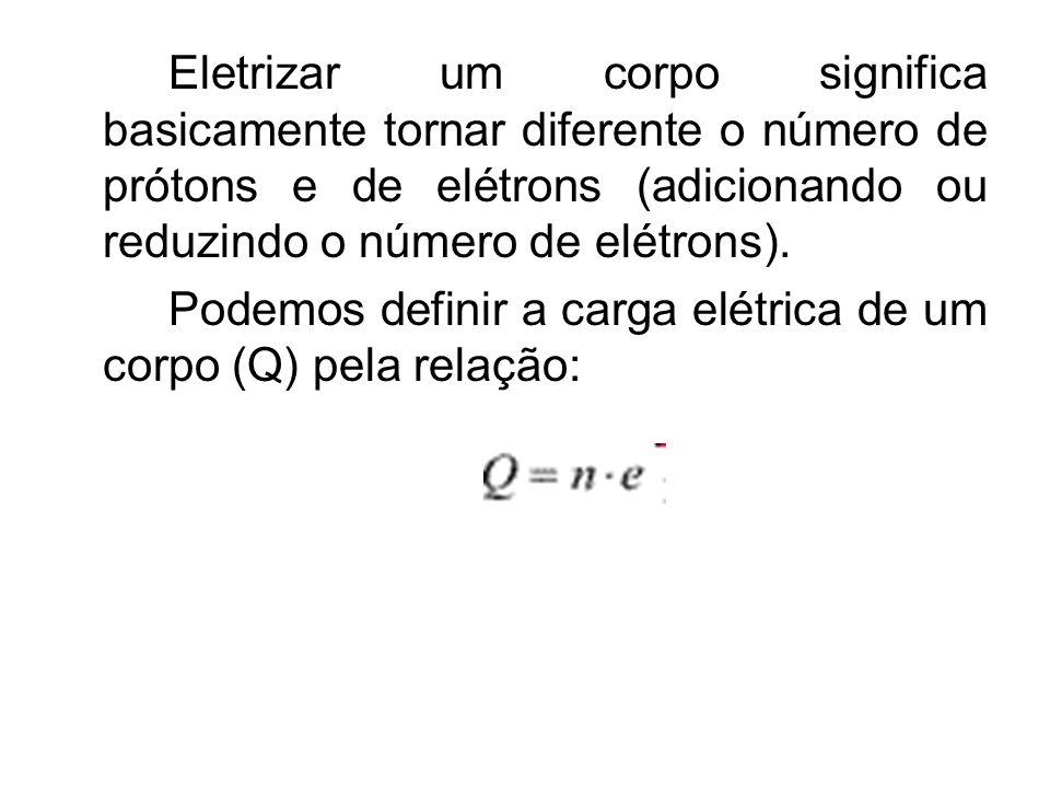 Eletrizar um corpo significa basicamente tornar diferente o número de prótons e de elétrons (adicionando ou reduzindo o número de elétrons). Podemos d