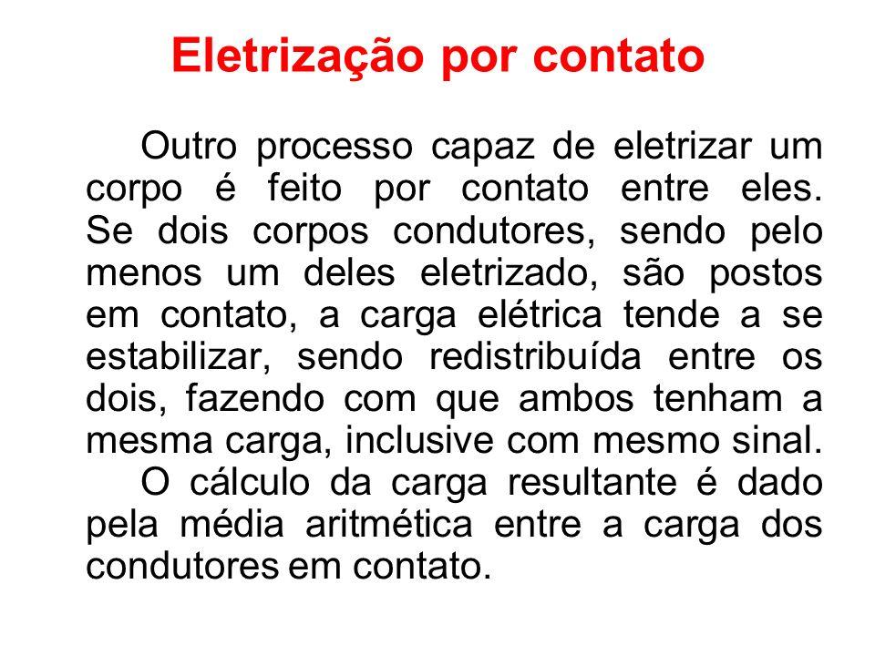 Eletrização por contato Outro processo capaz de eletrizar um corpo é feito por contato entre eles. Se dois corpos condutores, sendo pelo menos um dele