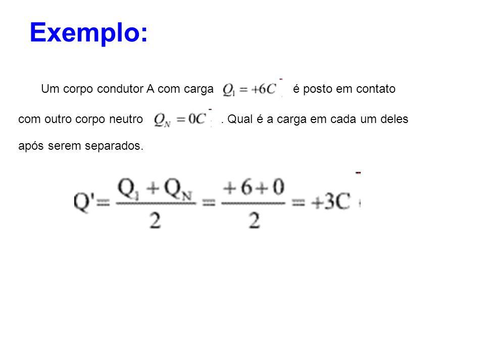 Exemplo: Um corpo condutor A com cargaé posto em contato com outro corpo neutro. Qual é a carga em cada um deles após serem separados.