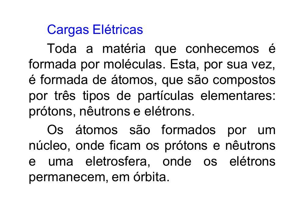 Cargas Elétricas Toda a matéria que conhecemos é formada por moléculas. Esta, por sua vez, é formada de átomos, que são compostos por três tipos de pa