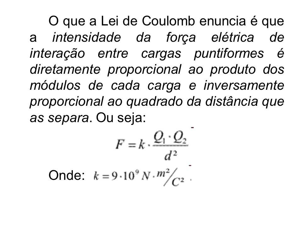 O que a Lei de Coulomb enuncia é que a intensidade da força elétrica de interação entre cargas puntiformes é diretamente proporcional ao produto dos m