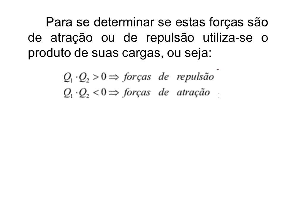 Para se determinar se estas forças são de atração ou de repulsão utiliza-se o produto de suas cargas, ou seja: