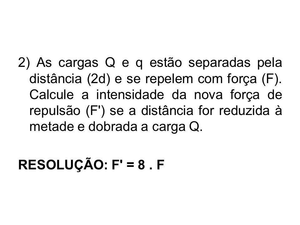 2) As cargas Q e q estão separadas pela distância (2d) e se repelem com força (F). Calcule a intensidade da nova força de repulsão (F') se a distância