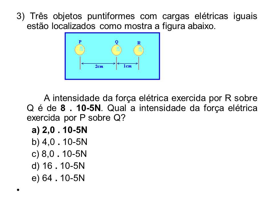 3) Três objetos puntiformes com cargas elétricas iguais estão localizados como mostra a figura abaixo. A intensidade da força elétrica exercida por R