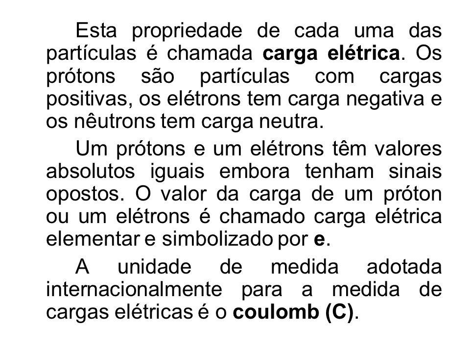 Esta propriedade de cada uma das partículas é chamada carga elétrica. Os prótons são partículas com cargas positivas, os elétrons tem carga negativa e