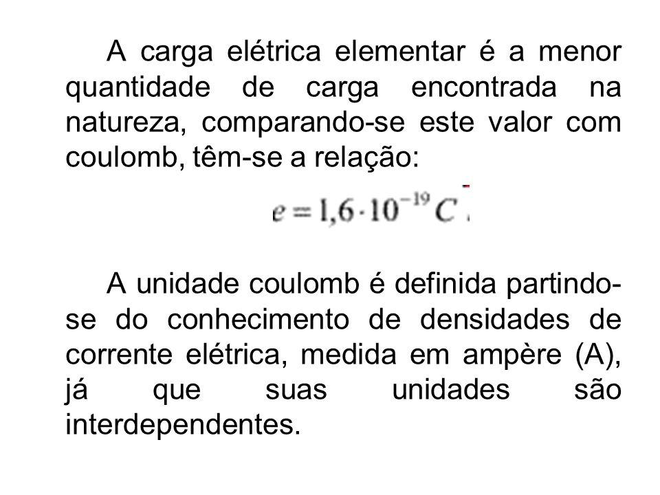A carga elétrica elementar é a menor quantidade de carga encontrada na natureza, comparando-se este valor com coulomb, têm-se a relação: A unidade cou