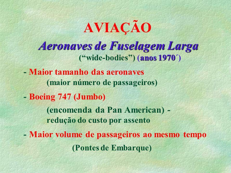 AVIAÇÃO Aeronaves de Fuselagem Larga anos 1970 Aeronaves de Fuselagem Larga (wide-bodies) (anos 1970´) - Maior tamanho das aeronaves (maior número de