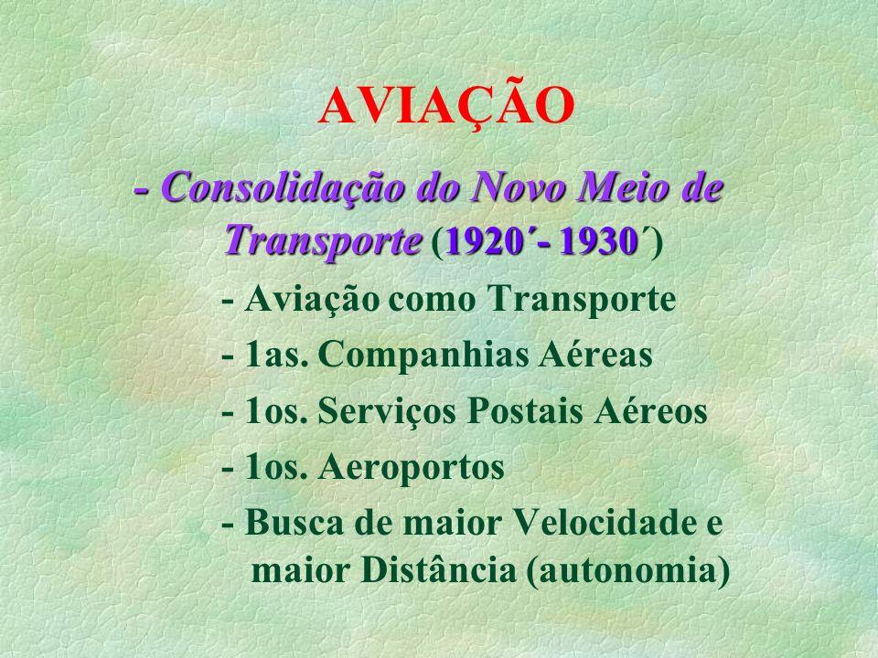 AVIAÇÃO - Consolidação do Novo Meio de Transporte 1920´- 1930 - Consolidação do Novo Meio de Transporte (1920´- 1930´) - Aviação como Transporte - 1as